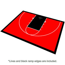 46ft x 30ft Outdoor Basketball Half Court Kit-Lines and Edges Included-Red/Black