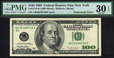 1996 $100 FRN Error ~ Watermark on Wrong Side!! PMG 30 EPQ Not Inverted!!