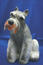 "Dog Schnauzer Figure Molded Resin Sitiing 11 1/2"" Tall"