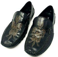 Robert Wayne Rays Black Leather Moc Toe Dress Casual Slip On Loafer Shoe Mens 8