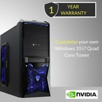 Windows 10 Customised Core i7 Quad Core Gaming Tower 8GB / 16GB DDR3 PC Computer