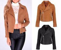 New WOMEN Suede Look Size Zip CLASSIC Ladies BIKER JACKET Coat TAN BROWN 6-14 UK