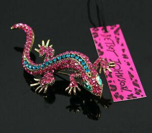 Betsey Johnson Blue Crystal/Red Rhinestone Lizard Gecko Brooch Gift