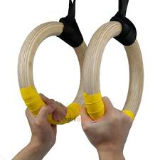 Wood Gymnastic Olympic Gym Rings w/ Adjustable Buckle Straps Strength Training