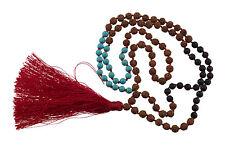 collar Collar mala Rudraksha Ø7mm Cuentas Piedra de Lava y Turquesa 25222 S4