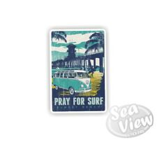 Pray for Surf Volkswagen Retro VW Camper Splitscreen Car Van Decal Fun Sticker
