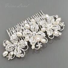 Bridal Hair Comb Pearl Crystal Headpiece Hair Clip Pin Wedding Accessories 09884