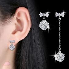 Women 925 Sterling Silver Crystal Bowknot Long Chain Short Design Stud Earrings