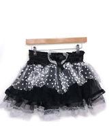 Black Satin Trim & Net Floral Lace Hearts Skirt Fancy Dress Costume Festival