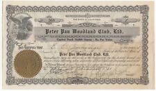 1931 PETER PAN WOODLAND CLUB LTD.  Stock Certificate Big Bear Lake California
