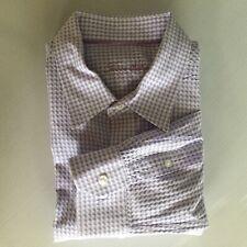 Tasso Elba Mens XL Purple Check Long Sleeve Textured Dress Shirt
