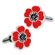 PinMart's Red and Black Poppy Flower Remembrance Memorial Day Cufflink Set