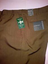 COVINGTON 40 x 32 Easy Khaki Pants Brown NO IRON FLAT FRONT CLASSIC FIT NEW