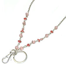 Crystal Pink Ribbon Heart Necklace ID Key Holder Lanyard Breast Cancer Awareness