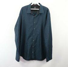Bugatchi Uomo Mens 2XL XXL Shaped Fit Long Sleeve Plaid Dress Shirt Blue Cotton