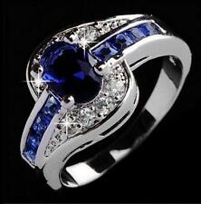 Love Fashion Womens Girl Big Blue Charm Engagement Ring Size 7 8 9 Rings Jewelry