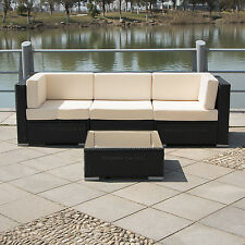 4PCS Outdoor Patio Furniture Set Cushioned Rattan Wicker Garden Lawn Sofa