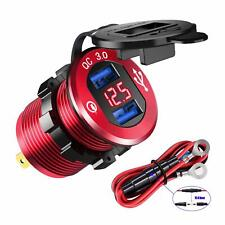Car Boat Quick Charge 3.0 Dual USB Charger Socket Power Adapter Outlet Voltmeter