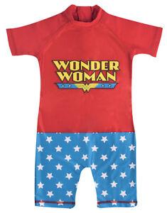 Girls Wonder Woman Sun Suit Kids DC Comic Rash Guard Swimsuit Sun Safe Pool Size