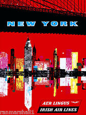 New York City by Irish Airlines United States Travel Advertisement Art Poster