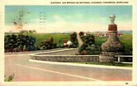 The Old Jug Stone Bridge US Highway Hwy 40 Frederick MD Maryland 1940's Postcard