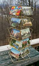 Rotating Postcard Display Stand Rack Brass Finish Counter Top 20 Slots