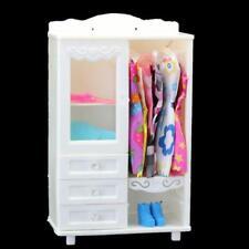 Luxury White Wardrobe Closet Accessories Furniture Girls Gifts For Barbie Doll