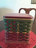 Longaberger 2006 Holiday Hearth Basket with Clear Protector and Red Lid