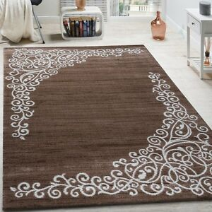 Brown Patterned Rug Floral Design Glitter Chocolate Soft Carpet Extra Large NEW