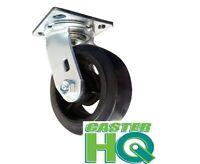 "CASTERHQ- 8"" X 2"" Dumpster Swivel Caster - Mold-On-Rubber Ergonomic Wheel"