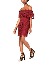 Guess | Enna Lace Off-the-Shoulder Dress | Red | XS