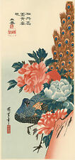 """Véritable Estampe Japonaise De Hiroshige """"Paon Et Pivoines"""""""