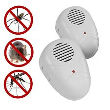 2 x ULTRASONIC PLUG IN MICE MOUSE RODENT RAT SPIDER ANT REPELLER PEST CONTROL