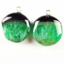 12Pcs 20x7mm Black Green Onyx Druzy Geode Agate Round Pendant Bead