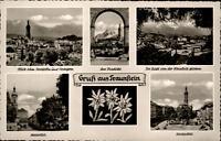 Traunstein Mehrbild Grußkarte ~1950/60 am Viadukt Stadtplatz Maxplatz Totale u.a