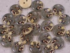 NEW 15 Shabby Chic, Vintage Snowy Christmas Buttons 15mm FREE P&P