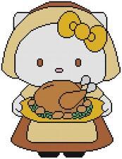 CROSS STITCH+ CRAFT PATTERN Hello Kitty Cat Thanksgiving Pilgrim Turkey November