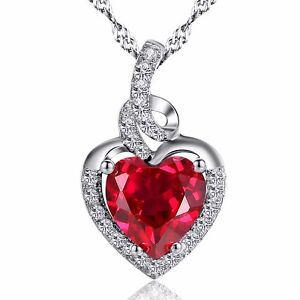 2.00 Cttw Ruby Heart Cut Created Pendant Necklace Sterling Silver w/ Chain