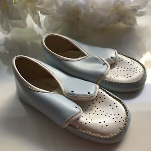 1940s Fautley Vintage Baby Shoes Boy Blue Christening Doll Baby Size 2