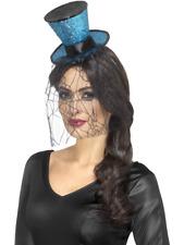 Mini Gothic Top Hat on Headband Adult Womens Ladies Halloween Fancy Dress