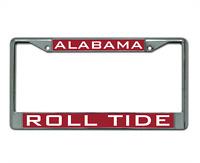 University of Alabama ROLL TIDE CHROME METAL LICENSE PLATE FRAME