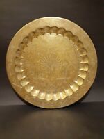 Vintage Solid Brass Hand Etched Serving Tray or Wall Hanging Peacock Nice Patina