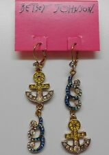 Betsey Johnson Ship Shape Anchor & Wave Mis Match Leverback Earrings MSRP $40