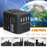 Universal Travel Power Adapter All-in-One Worldwide Wall Fast Charger 4 USB Port
