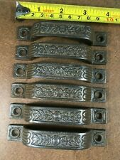 6 vintage floral theme Cast Iron Drawer Pulls, 4 inches long, nice
