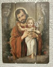 """ST JOSEPH & INFANT JESUS"" PALLET SIGN, 12x15"" New in box!  STUNNING!"
