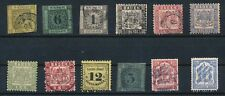German States - BADEN (12) EARLY ISSUES (1851-1905); MH & USED CV $270