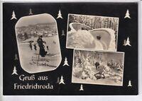 Ansichtskarte Friedrichroda - Bobbahn - Winterwald - Skihang - schwarz/weiß