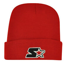 Starter Blank Red Black Knit Beanie Cuffed Toque Winter Hat Skully Plain Solid