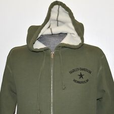 Harley Davidson Museum Men M Hoodie Sweater Green Zipped Milwaukee Star Military